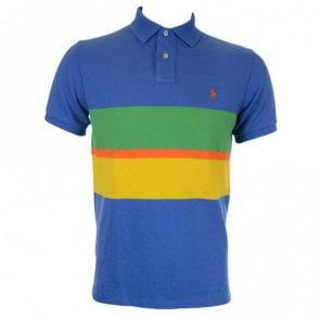 Custom Fit Multi Stripe Polo Shirt In Blue