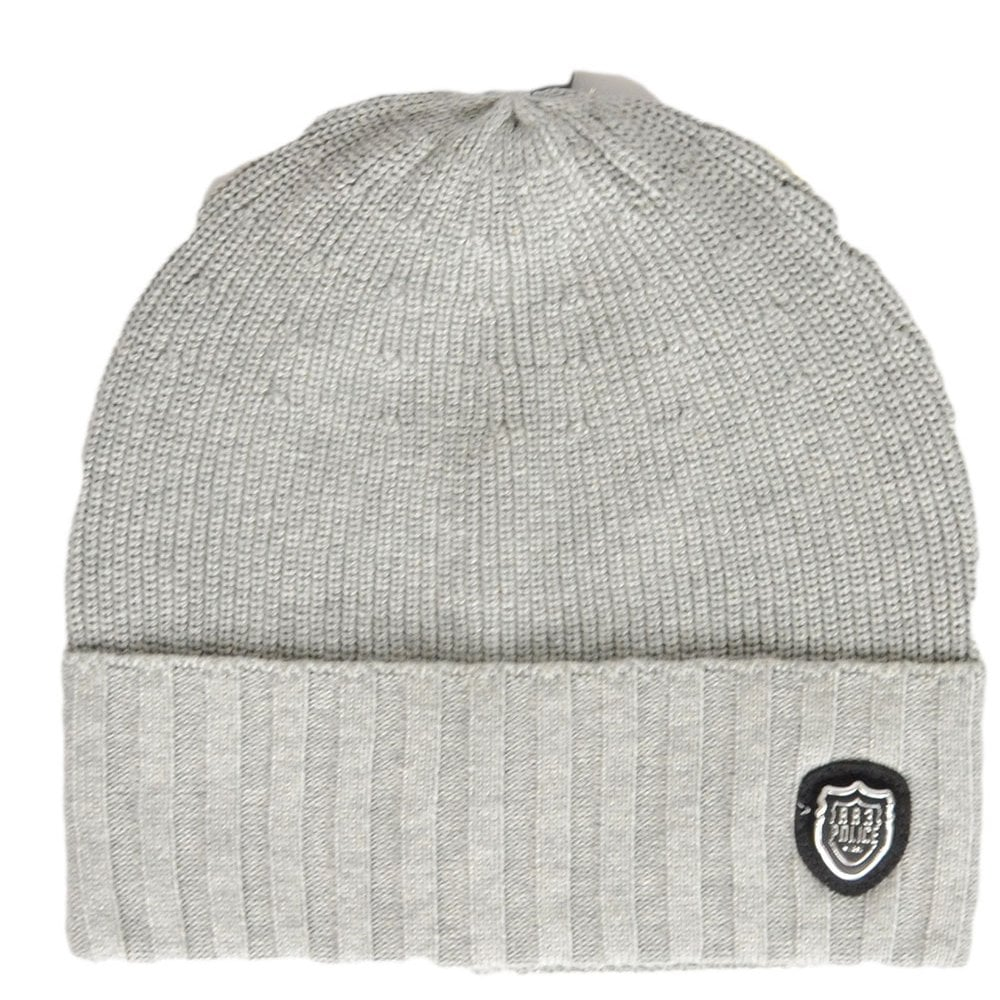 3f4bd1fe6c8 883 Police Manta Ribbed Cotton Grey Beanie Hat - Accessories from ...