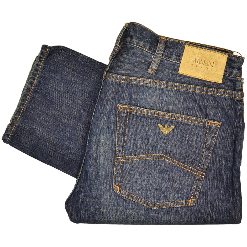 on sale 2bdc7 6dab3 Armani Jeans 3Y6J45 Slim Fit J45 Denim Indaco Vintage Wash Jeans