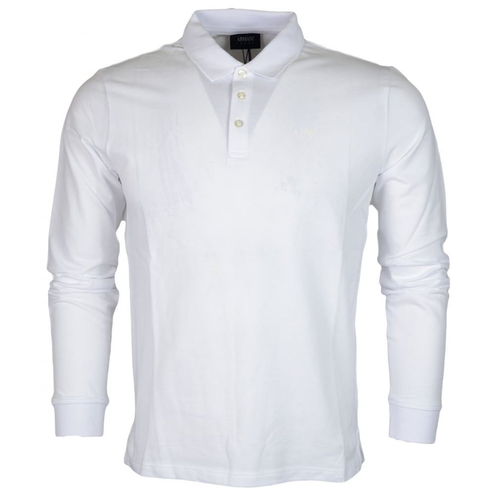 1bfe0c5cd5533 Armani Jeans 8N6F13 6J0SZ Plain White Long Sleeve Pique Polo ...
