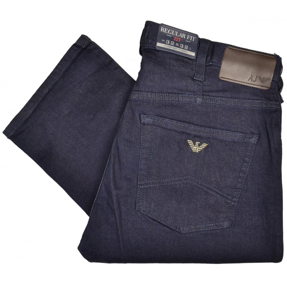 7a6dadb65efb Armani Jeans 8N6J21 Regular Fit J21 Dark Denim Indigo Jeans ...