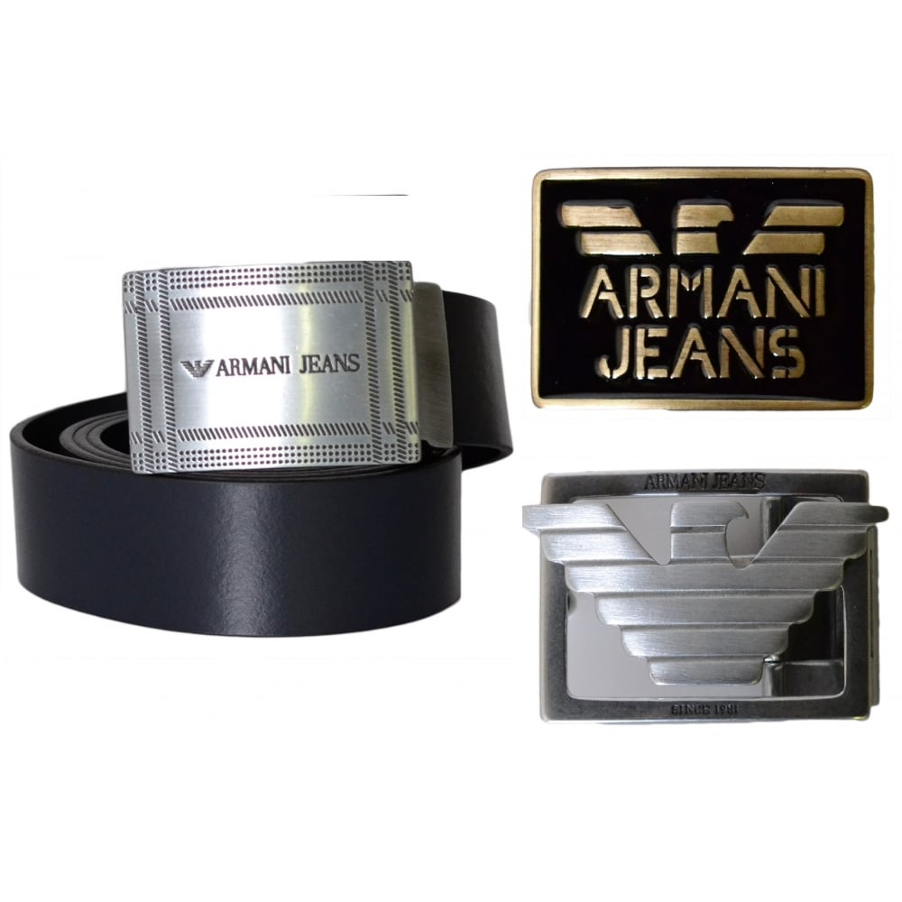 a88381be Armani Jeans 931003 Black Leather 3 Buckle Belt