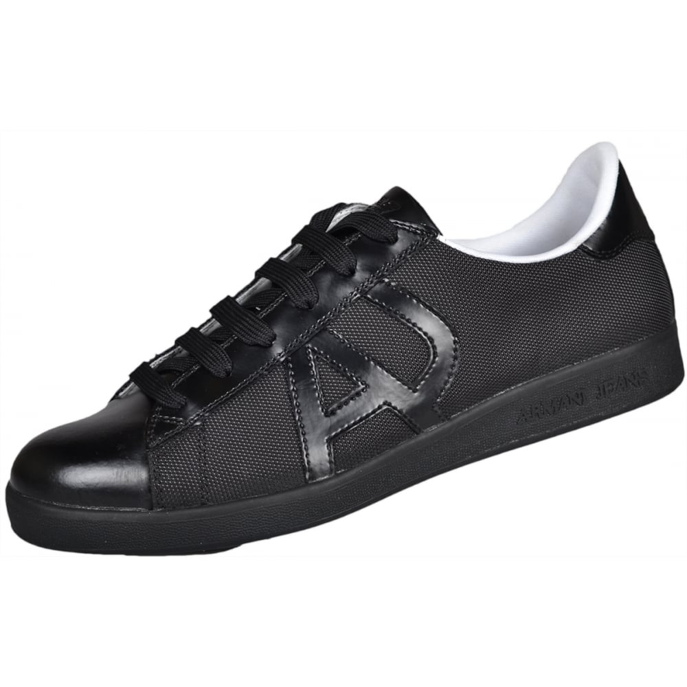 b4ad4e34765 Armani Jeans 935565 Full Black Low Top Leather Polyester Trainer ...
