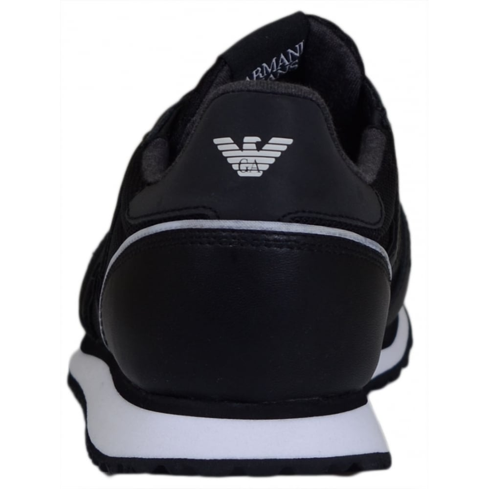 16339abd Armani Jeans C6506 Mesh Black Run Trainer