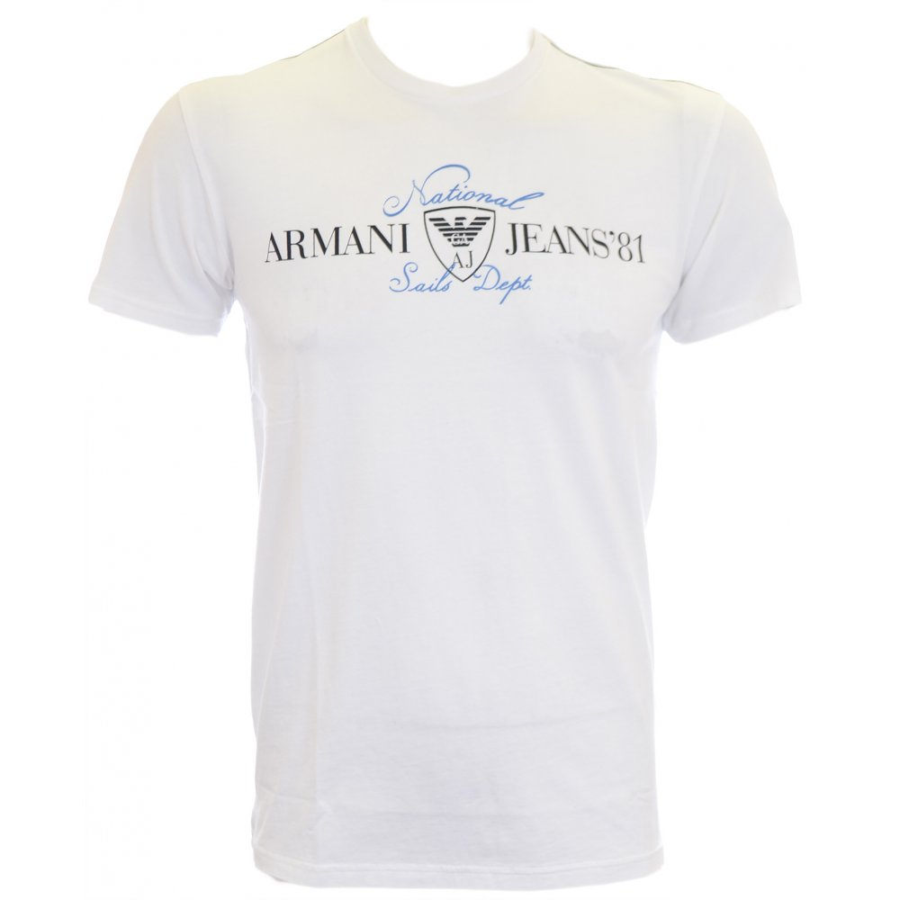 56d53c90019c Armani Jeans Stretch Slim Fit White National Sails T-Shirt ...