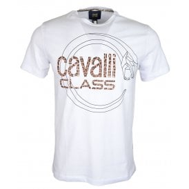 Cavalli Class Callisto Jersey Cotton Printed Logo Navy T-Shirt
