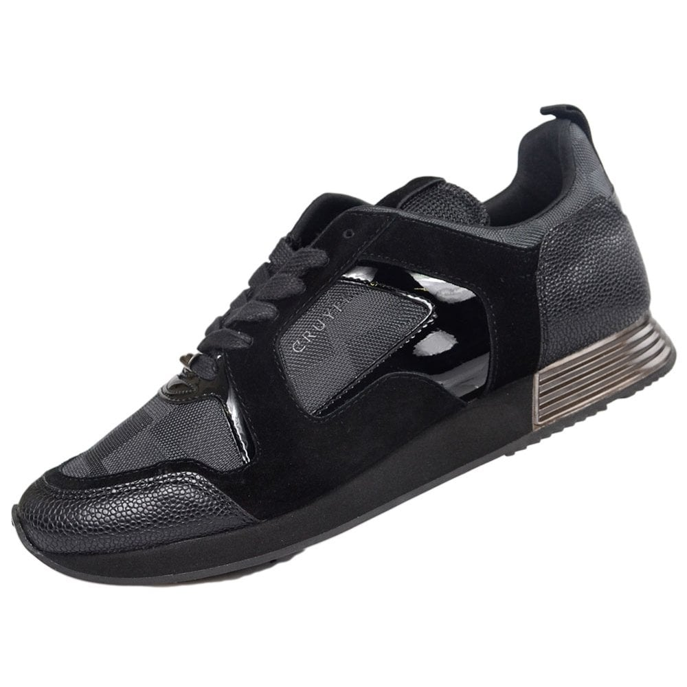 749cc72824b Cruyff Classics Lusso Leather Lace Up Black Runner Trainer ...