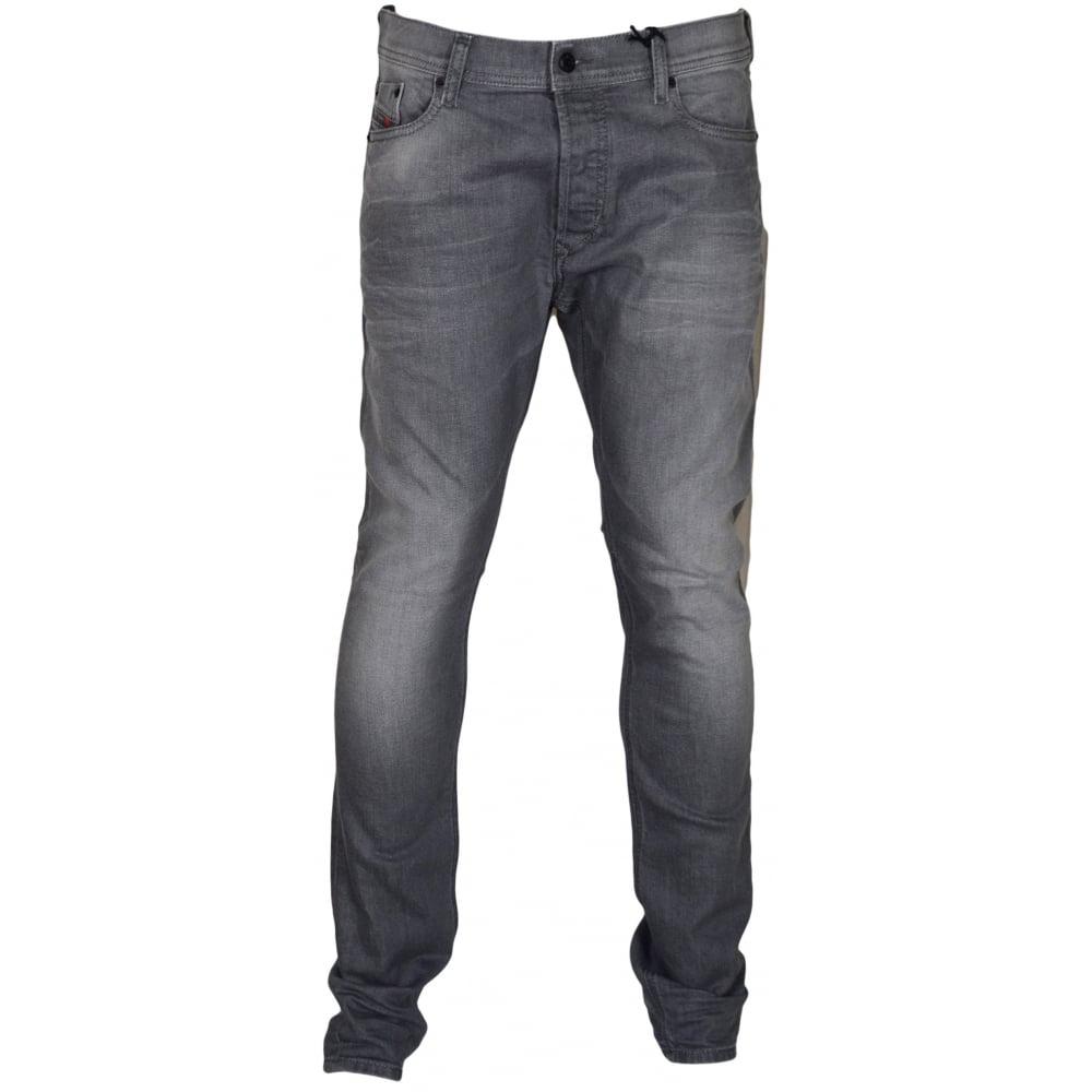 4b4aab67 Diesel Tepphar 0853T Slim-Carrot Stretch Grey Wash Jeans - Clothing ...