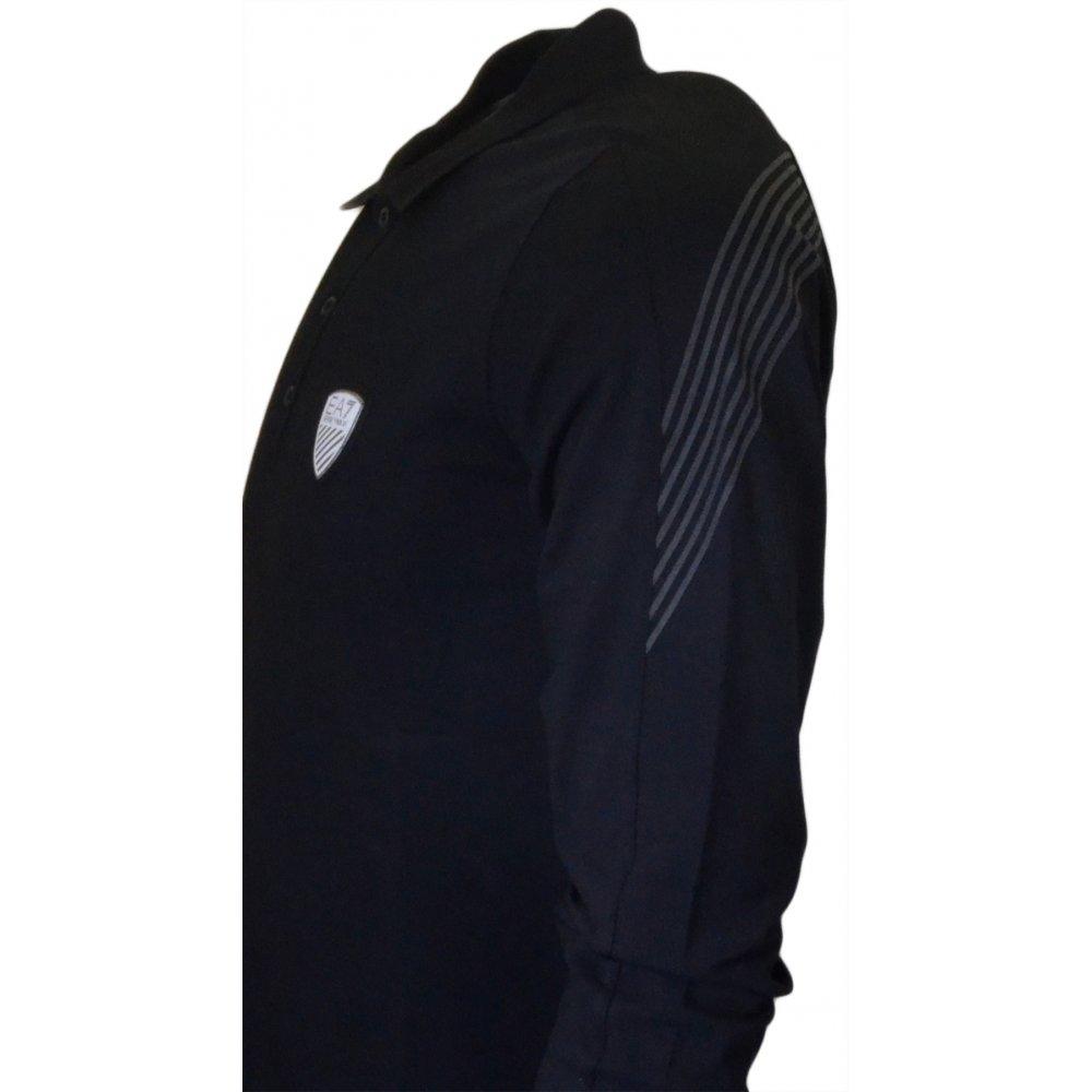 4f2a81997 EA7 by Emporio Armani 273287 Train Soccer Long Sleeve Black Polo ...