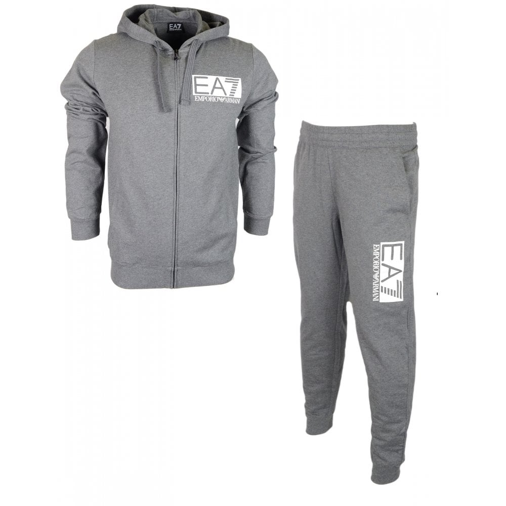 e4e459a45 EA7 by Emporio Armani Cotton Hooded Zip Up Grey Tracksuit - Clothing ...