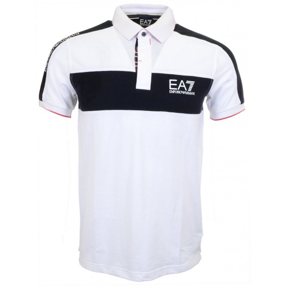 465c57db EA7 by Emporio Armani Pique Regular Fit White/Navy Polo - Clothing ...