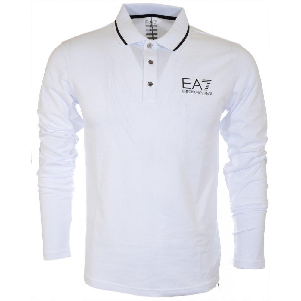 b10d50df EA7 by Emporio Armani Train Core Collar Strip Full Sleeve White Polo ...