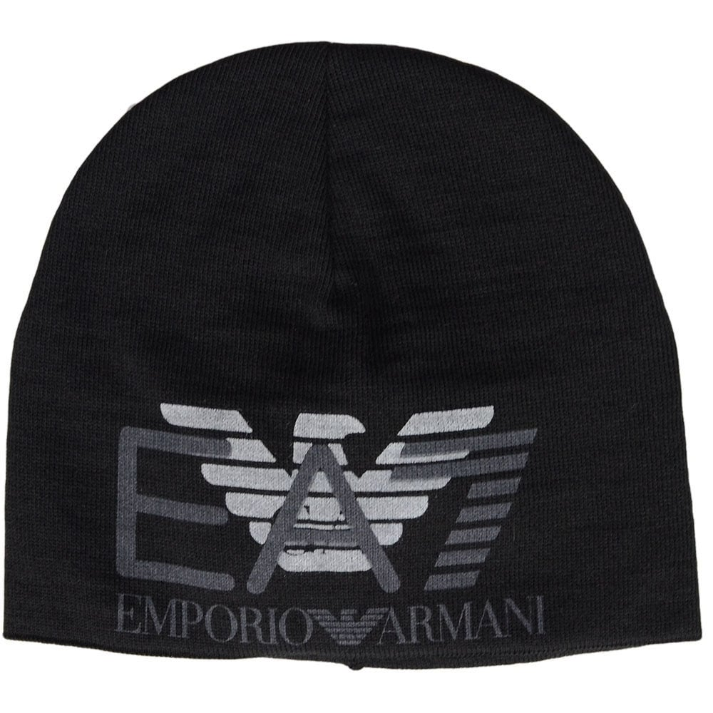 EA7 by Emporio Armani Train Eagle Printed Black Beanie Hat ... 86a022ff348