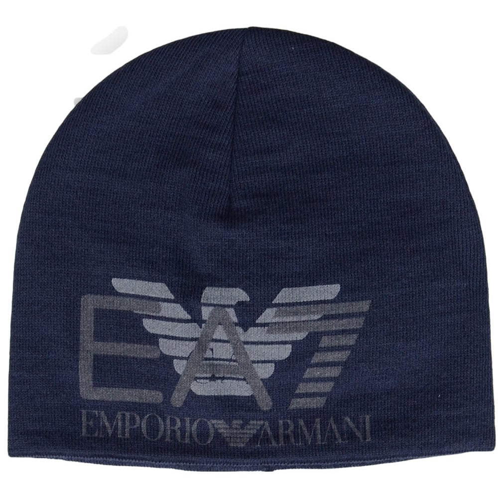 EA7 by Emporio Armani Train Eagle Printed Navy Beanie Hat ... b9647334942