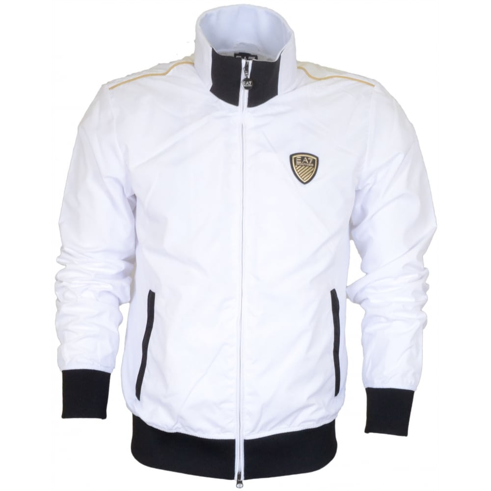 on feet shots of buy sale durable modeling EA7 by Emporio Armani Train Soccer White Bomber Jacket