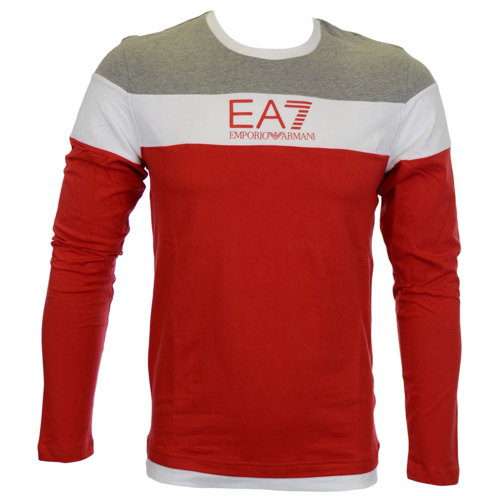 13d785f4 EA7 by Emporio Armani Train Tri Colour Red T-Shirt - Clothing from ...