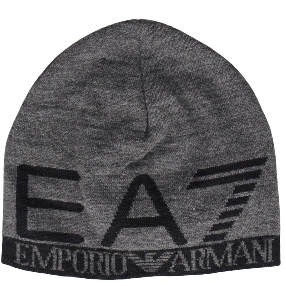 EA7 by Emporio Armani Train Visibility Printed Grey Beanie Hat ... e548fb540e5c