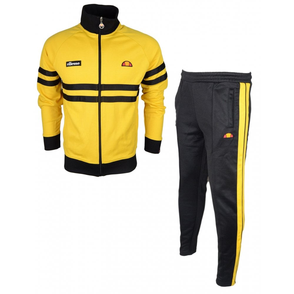 outlet store uk cheap sale release date: Ellesse Rimini Cassed Funnel Neck Yellow/Black Tracksuit