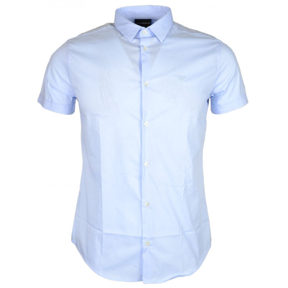 e5fc063f5d Emporio Armani 8N1C10 Cotton Stitched Logo Short Sleeve Sky Blue Shirt