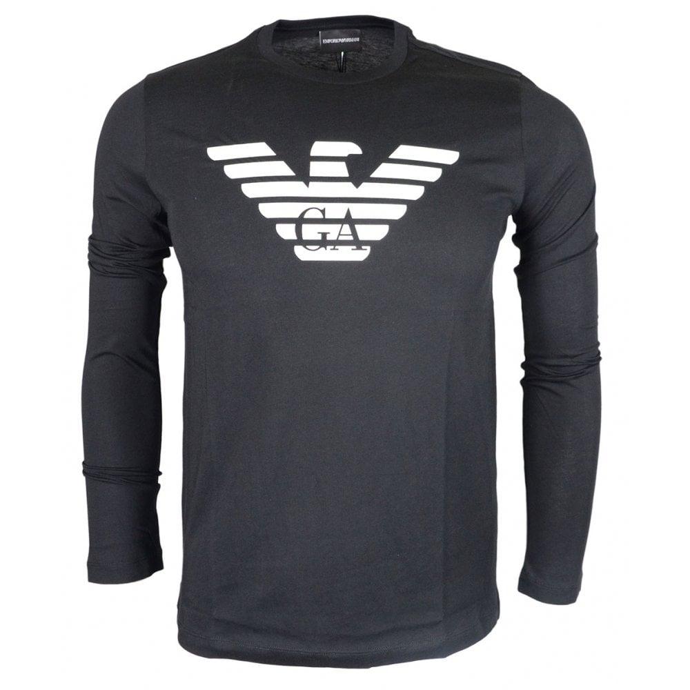e89df6b7 Emporio Armani Cotton Round Neck Printed Black Long Sleeve T-Shirt
