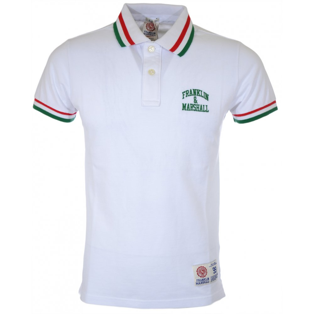 42d3245e Franklin & Marshall 2-button Piquet Striped White Polo Shirt ...