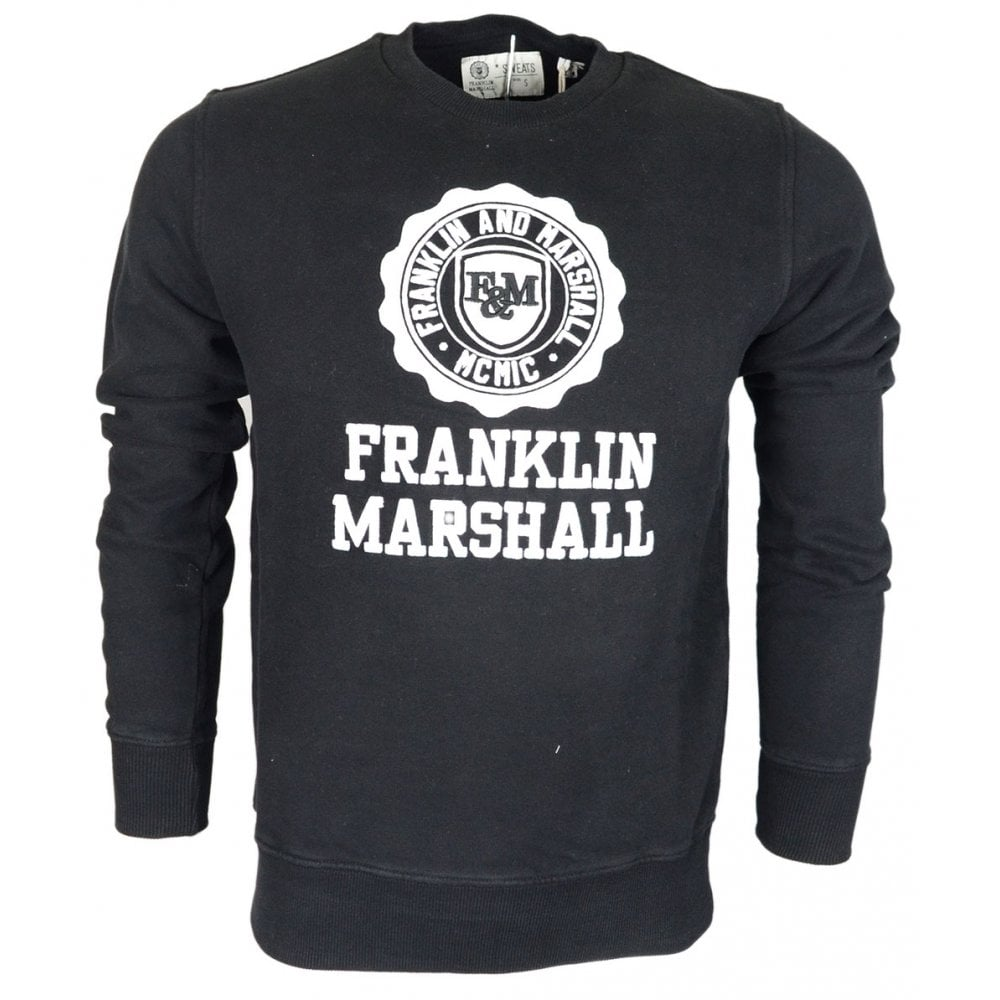 Franklin   Marshall Cotton Round Neck Crest Logo Black Sweatshirt ... 60fadcafe98