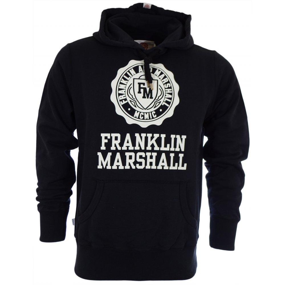 5b9ddd174d9 Franklin & Marshall Crest Logo Black Hoodie
