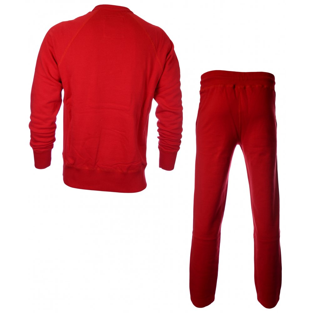14f41ce5 Franklin & Marshall Crew Neck Crest Print Patrol Red Tracksuit ...