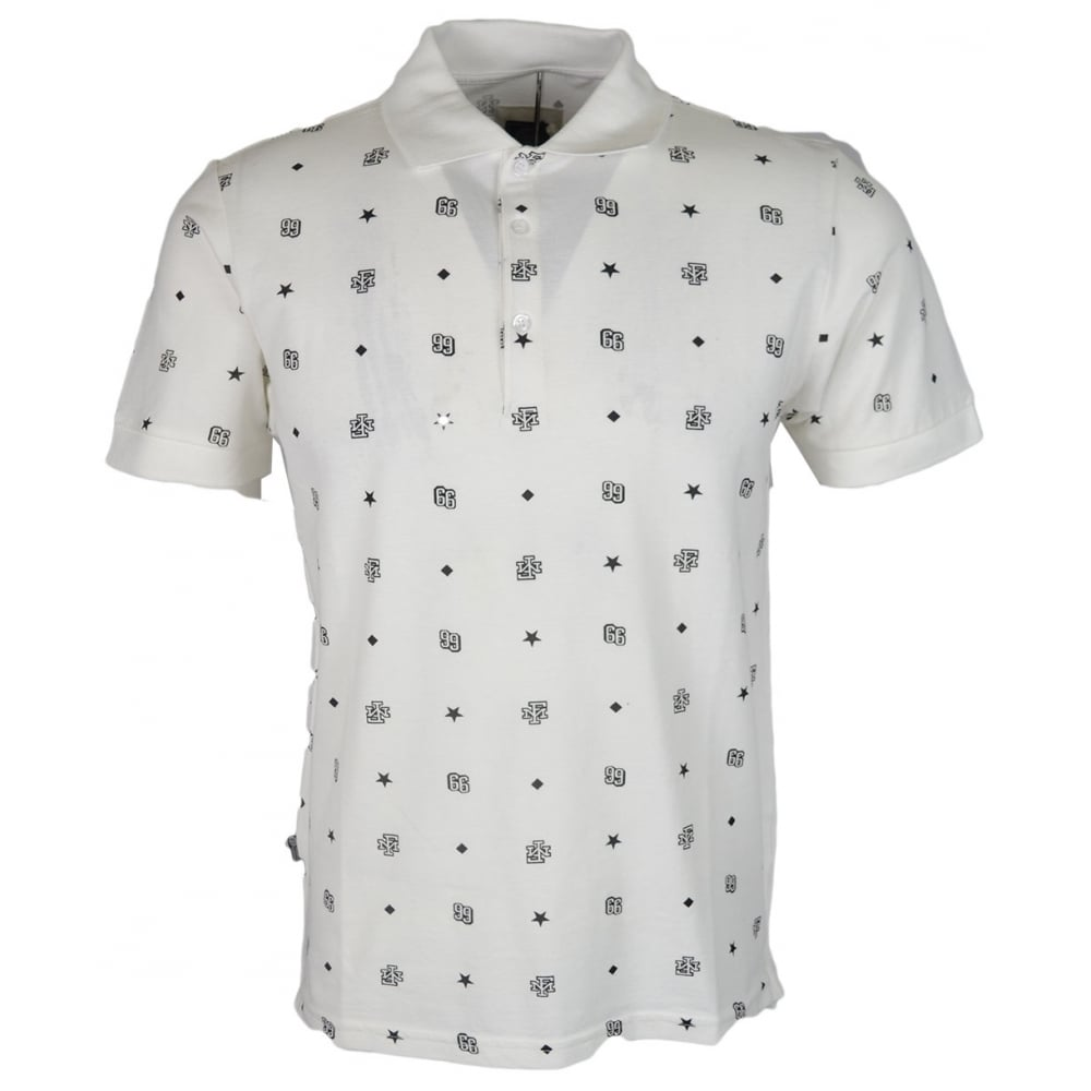 Franklin Marshall Mf482 Cotton Short Sleeve White Monogram Polo