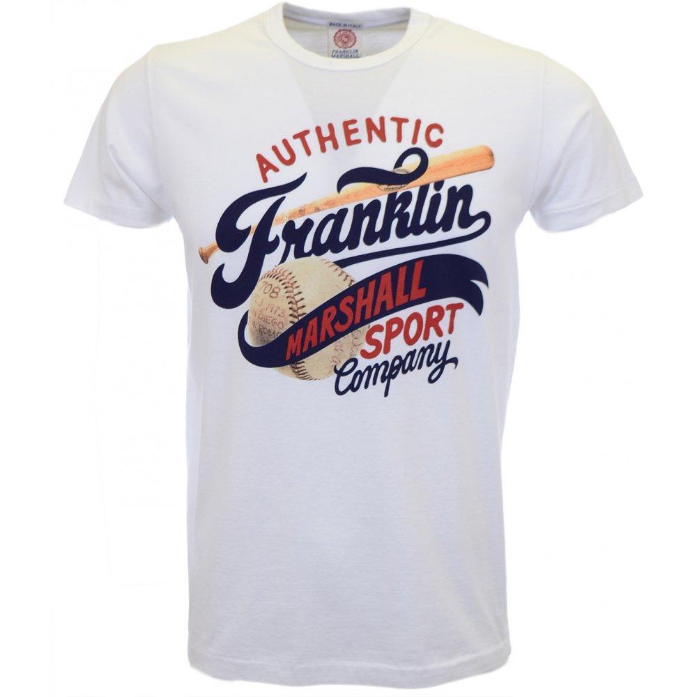 Franklin   Marshall Sport champion Round Neck White T-Shirt ... 34780468e91