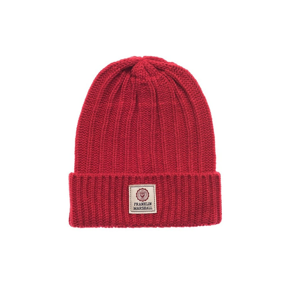 a170b107d97 Franklin   Marshall UA904 Ribbed Patrol Red Beanie Hat - Accessories ...