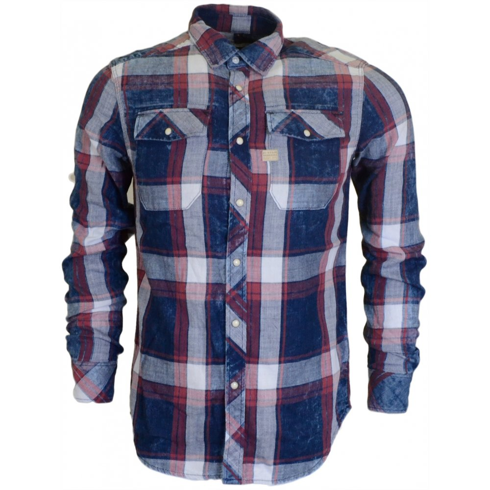 2e648e78c88 G-Star Landoh Rinsed Indigo Check Slim Fit Shirt - Clothing from N22 ...