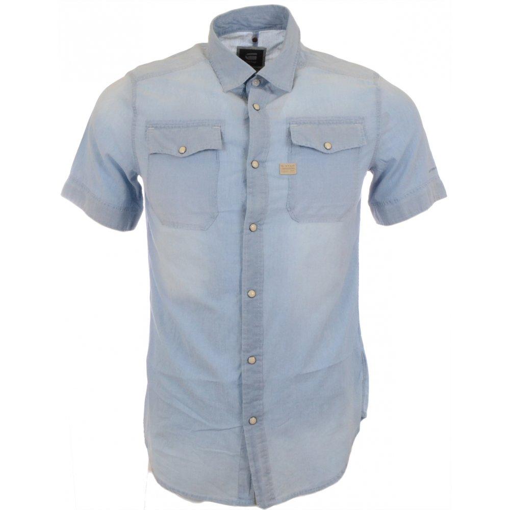 203a0a03e1d G-Star Landoh Short Sleeve Blue Shirt - Clothing from N22 Menswear UK
