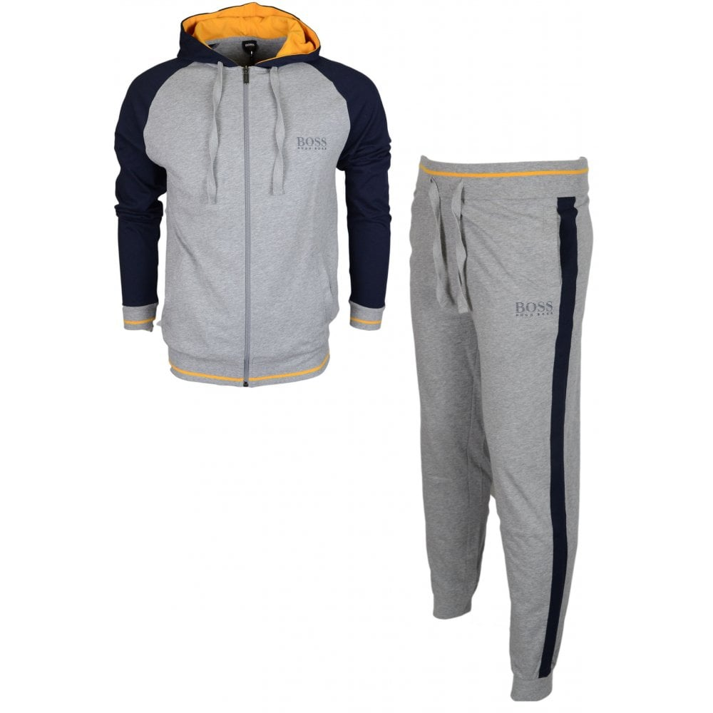 3e01ecf53 Hugo Boss Authentic Cotton Regular Fit Thin Hooded Grey/Navy ...