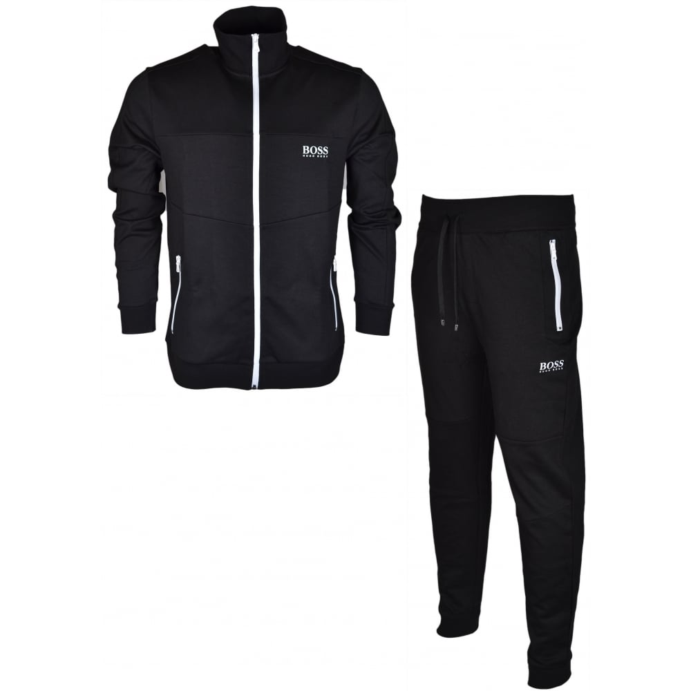 b7f11540a Hugo Boss Cotton Regular Fit Funnel Zip Black Tracksuit - Clothing ...