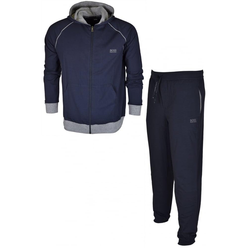 e3d585b39 Hugo Boss Cotton Regular Fit Thin Hooded Navy Tracksuit - Clothing ...