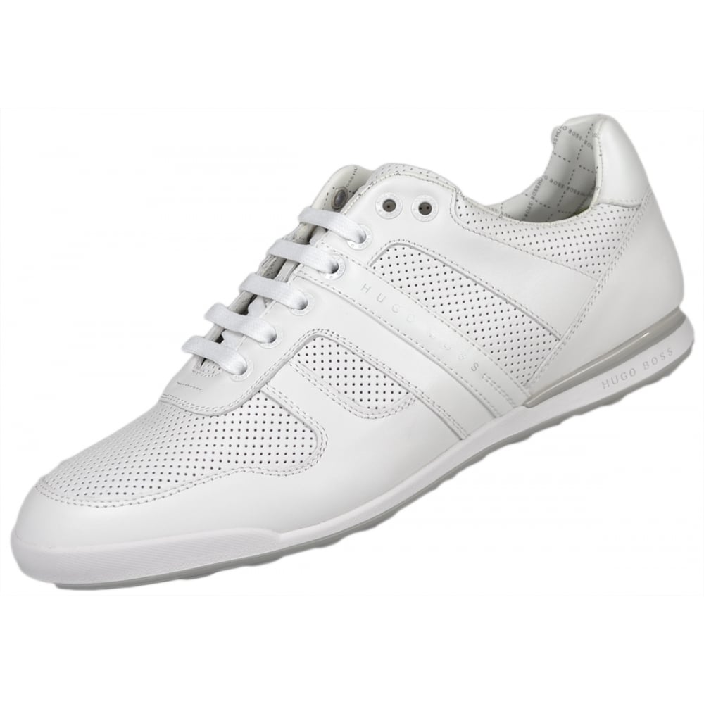 4371cab41 Hugo Boss Footwear Green Arkansas Perforated Leather White Trainer ...