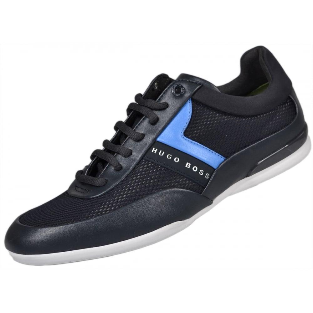 cef82ee2186 Hugo Boss Footwear Green Space LOWP Mesh Mix Navy Blue Trainer ...