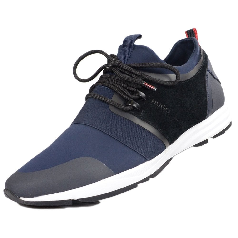 Discover reliable quality amazing price Hugo Boss Footwear Hybrid_Run Suede/Nylon Navy Patterned Trainer