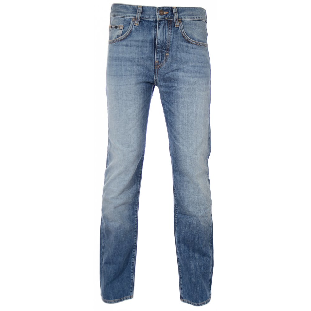 hot new products new appearance top brands Hugo Boss Kansas Regular Fit Light Wash Jeans