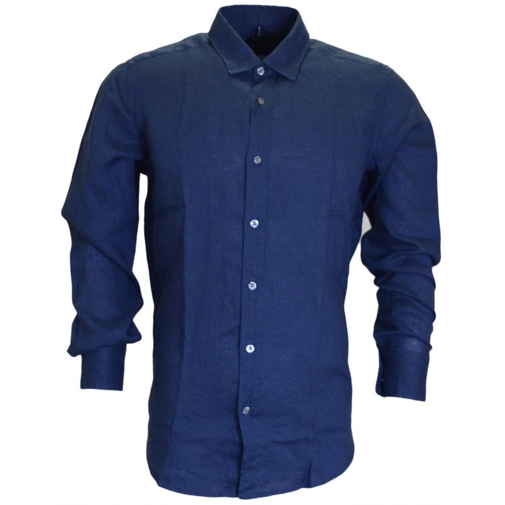 fe48600a Hugo Boss Lukas Regular Fit Pure Linen Blue Shirt - Clothing from ...