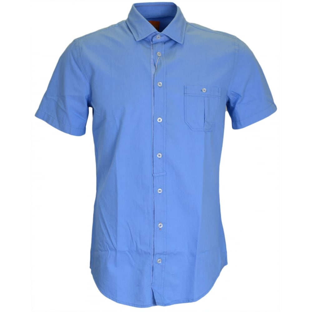 fbd20bbc EslimyE Slim Fit Sky Blue Short Sleeve Shirt - Clothing from N22 Menswear UK