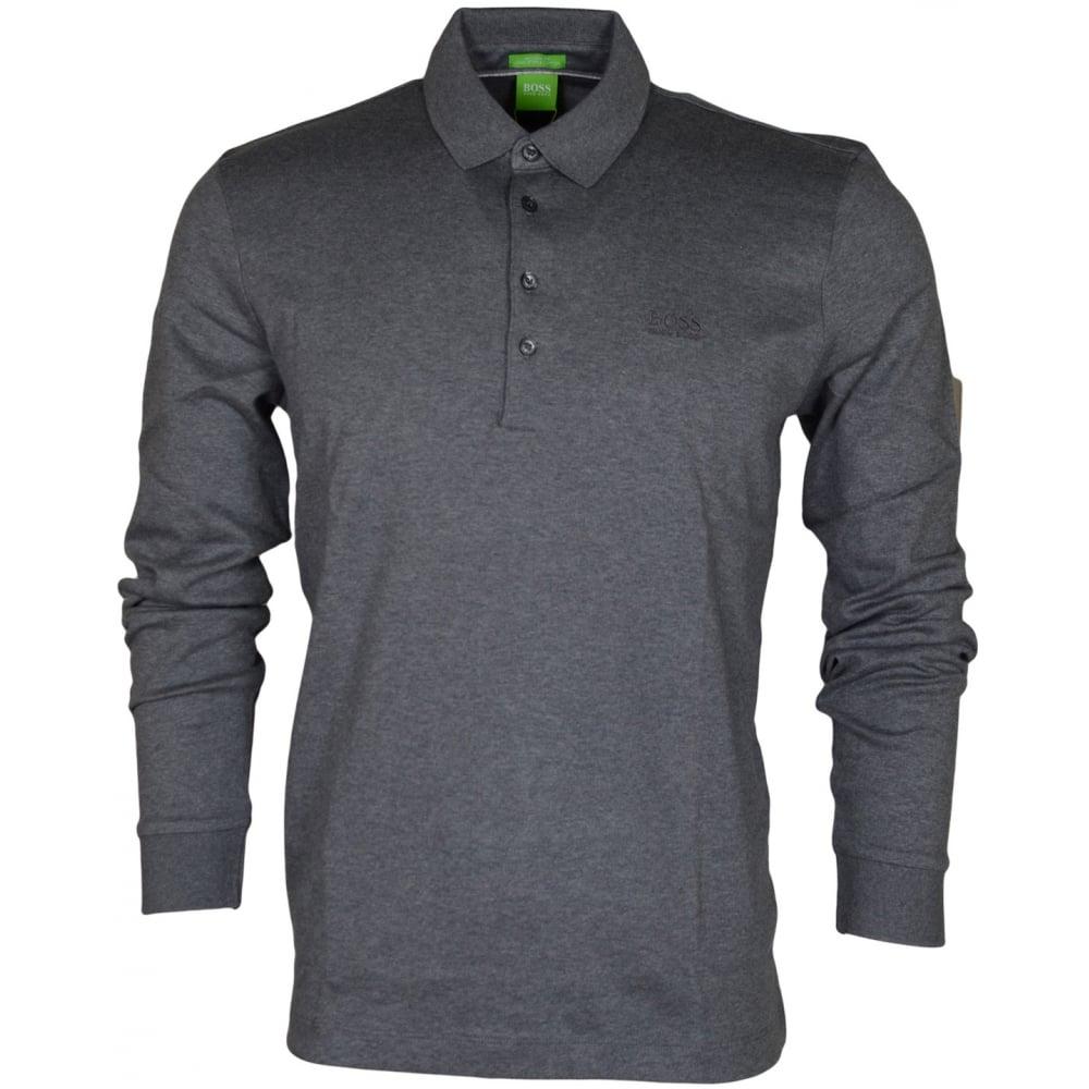 d07bb3732 Hugo Boss Paderna 30 Long Sleeve Regular Fit Grey Polo - Clothing ...