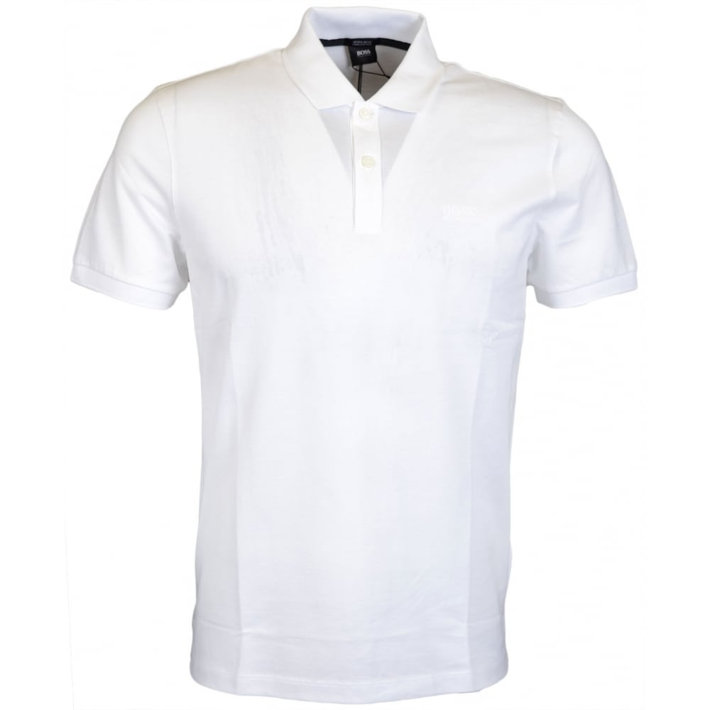 073903def Hugo Boss Pallas Regular Fit Pima Cotton White Polo - Clothing from ...