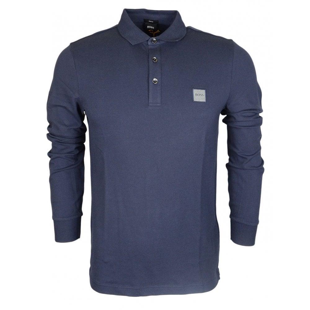 c72ad8c32 Hugo Boss Passerby Long Sleeve Cotton Navy Polo Shirt - Clothing ...