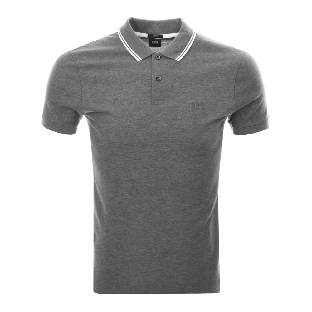 dd13c615 Hugo Boss Phillipson 13 Regular Fit Stripe Collar Grey Polo ...