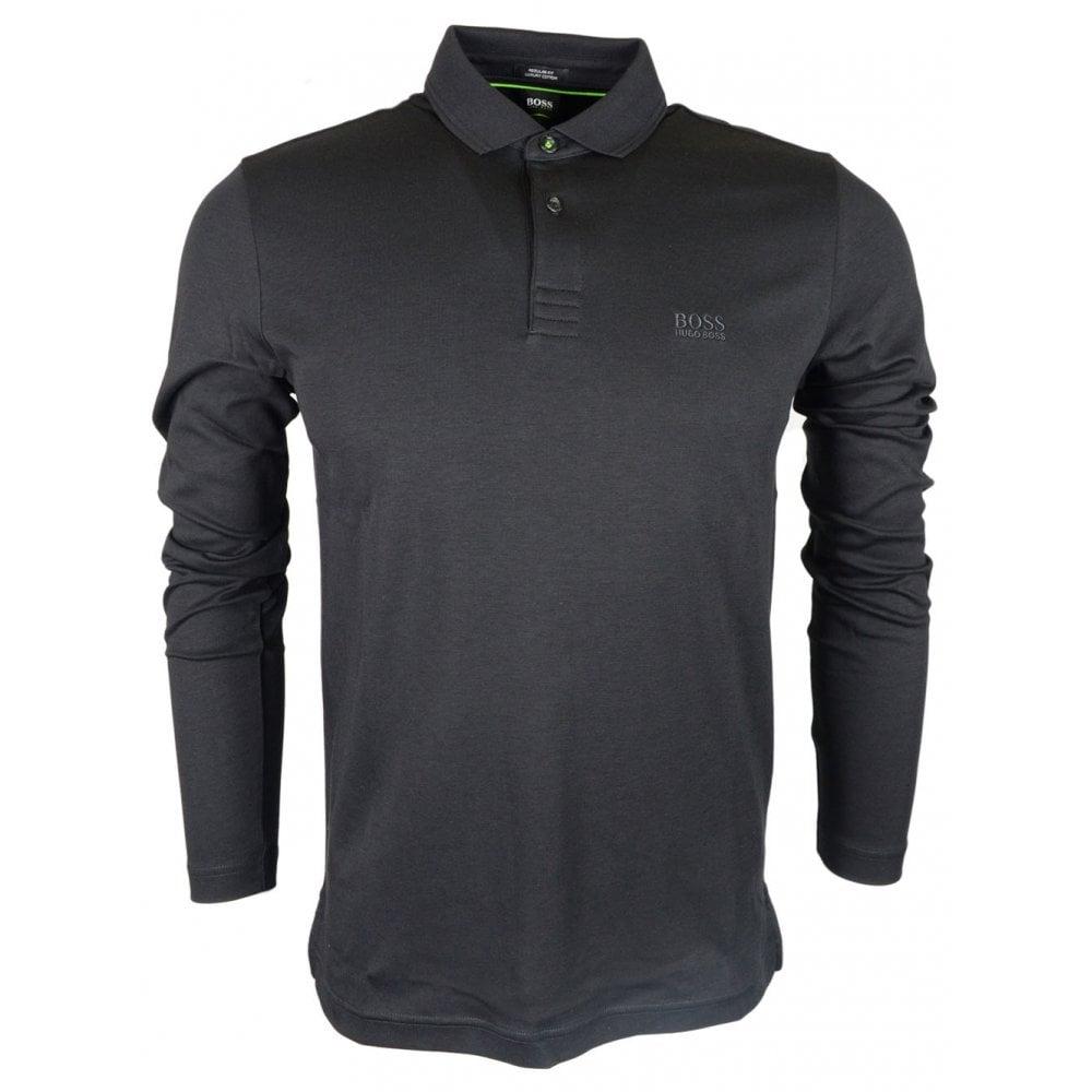 0d10fb41 Hugo Boss Pirol Luxury Cotton Regular Fit Long Sleeve Black Polo ...