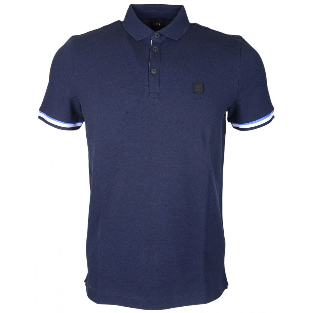 0b07788f Hugo Boss Printcat Short Sleeve Cotton Navy Polo Shirt - Clothing ...