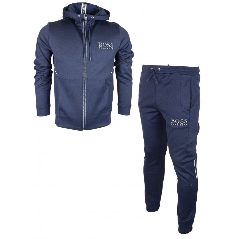 222009c6 Hugo Boss Saggy Hadiko Cotton Regular Fit Hooded Navy Tracksuit ...