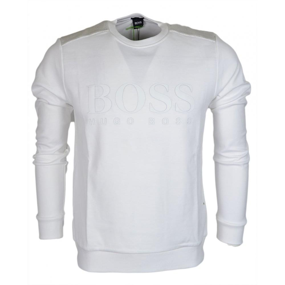 78d3fb1da9 Hugo Boss Salbo Slim Fit White Sweatshirt - Clothing from N22 ...